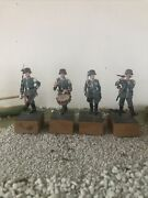 Lot Of 4 Ww2 Almirall Collection Lead German Soldier Marching Band Scale 65 Mm