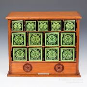Ferris And Co.19th Century Full Cabinet Of 13 Tins For Surgical Dressings 9910