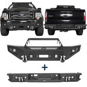 Textured Steel Front Bumper+ Rear Bumper Step Bar Combo Fit Ford F-150 2009-2014