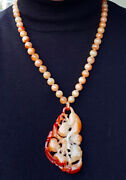Jade Necklace, Red Jade, With Monkey Pendant 70mm, Beads 8mm, Necklace 18ins.