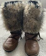 Sorel Ahnah Thinsulate Faux Fur And Leather Winter Snow Boots Womenandrsquos Us 8.5