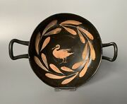Rare Greek Xenon-ware Kylix / Blackware Bowl With Central Swan And Laurel Wreath