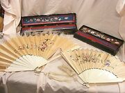 Antique Chinese Canton Silk Embroidered Court Hand Face Fans With Cases 2