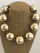 Vintage Runway Cadoro Goldtone And Coppertone Big Wood Beaded Ball Choker Necklace