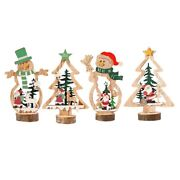 50x4 Pcs Mini Christmas Trees Wooden Assembled Table Top Decorations For