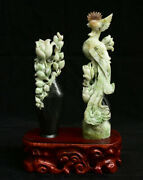 12.8 China Natural Dushan Jade Carved Phoenix Birds Flower Vase Lucky Statue
