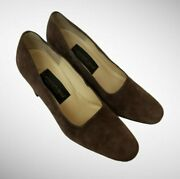Classiques Entier Womenand039s 7.5 C Brown Suede Pumps Made In Italy Shoes 2c