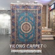 Yilong 4and039x6and039 Blue Silk Area Rug Handmade Carpet Home Medallion Hand-knotted 542a