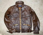 Polo Rrl Vtg 1940's Style Brown Leather Motorcycle Flight Jacket Xs