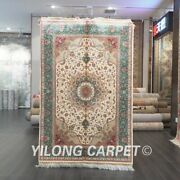 Yilong 4and039x6and039 Blue Silk Area Rug Old Handmade Flowers Carpets Hand-knotted 547a