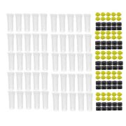 50x50pcs Bee Queen Cages Plastic Protective Cover Cage Cell Box Cup Rea Bees