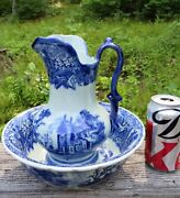Flow Blue And White Large Pitcher 9 And Bowl Ceramic