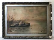 🔥 Antique 19th C. American Folk Art Oil Painting - Duck Hunting Dog On River