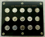 Rare 15 Coin 1950 1951 1952 1953 1954 To 1964 Proof Silver Dime Set In Capitol
