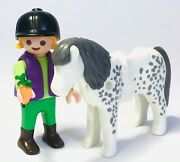 Playmobil Country Figures White And Grey Pony With Rider - Stables, Ranch, Farm
