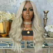 Luxury Lace Front Wavy Platinum Blonde Ash Root Ombre Full Lace Human Hair Wig