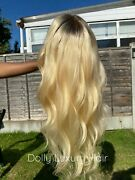 Luxury Lace Front Platinum Blonde Dark Roots Human Hair Full Lace Available Wig