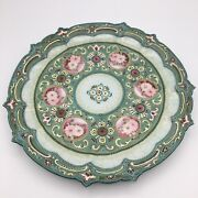 Gorgeous Antique Heavy Moriage Nippon-like Hand Painted 9 3/4 Scalloped Dish