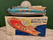 Vintage Battery Operated Tin Litho Universe Car