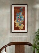 Handcraft Carve Copperplate Engraves Decoration Wall Painting Wealth Kylin Kirin