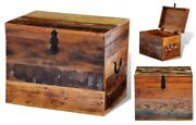 Wooden Storage Trunk Vintage Accent End Of Bed Coffee Table Blanket Chest Box