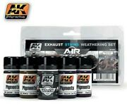 Ak Air Series Exhaust Weathering Set 5 Colors 35ml Bottles - Hobby And Model