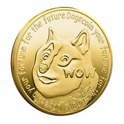 New Gold Dogecoin Coins Commemorative Collectors Gold Plated Doge Coin Usa Stock