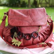 Juicy Couture Red Leather Hobo Shoulder Bag Purse Chain Accents Bow Scottie Dog