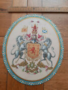 Chromolithograph National Arms Of Scotland Coat Of Arms On Card