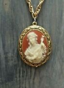 Beautiful Love Song Corday Cameo Perfume Locket With Long Avon Signed Chain
