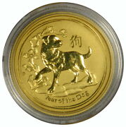 2018 Australia Gold 25 - Year Of The Dog 1/4 Oz .9999 - Priced Right