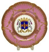 Pink Sevres Hand Painted Cabinet Plates W/ Large Royal Crest Late 19th Century
