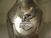 Harley Davidson 3 Sided Decanter Bottle W/ Eagle Top Cap 12 Years 95 St. Silver