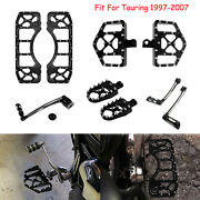 Black Wide Fat Foot Pegs Floorboards Mx Style Fit For Harley Touring 1997-2007