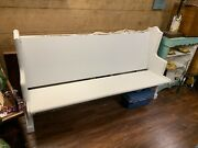 Antique Solid Oak 5 Foot Wide 36 Inch High Church Pew Bench Laundry White