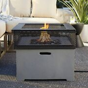 Large Outdoor Patio Backyard Warmer Propane Square Metal Mesh Fire Pit Table New
