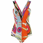 Emilio Pucci C.1960and039s Multicolor Abstract Op Art Mesh Zip-up One Piece Swimsuit