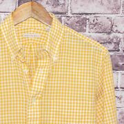 New England Shirt Co Menand039s Button Down Shirt Yellow Gingham Check Size Small