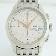 Baume And Mercier Clifton Chronograph Ss Moa10130 Menand039s Automatic Watch Excellent
