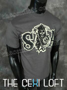 Official Sons Of Anarchy Soa T-shirt Reaper Logo Faux Twill Patches In Grey