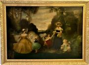 Large Antique 18-19 Centuries Oil Painting On Canvas, Women And Children Playing
