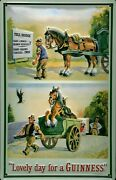 Guinness Horse Motif 2 Tin Sign Shield 3d Embossed Arched 7 7/8x11 13/16in