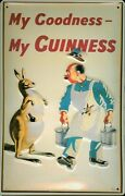 Guinness Kangaroo Tin Sign Shield 3d Embossed Arched 7 7/8x11 13/16in