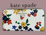 Kate Spade Staci Sailing Floral Large Continental Zip Wallet Cream Multi Clutch