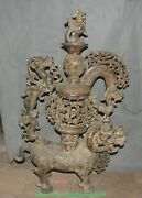 35.4collect China Copper Dragon Beast Phoenix Phenix Candle Holder Candlestick