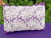 Vintage Royal Purple Royalty And Lace Overlay Throw Pillow Boudoir 11/16 ❤️sj11h7s