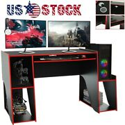 Led Gaming Desk E-sports Gamer Pc Laptop Computer Table With Keyboard Tray Usa