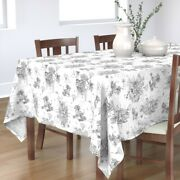 Tablecloth Black And White Woodland Kids Hand Drawn Toile Cactus Cotton Sateen