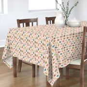 Tablecloth Christmas Retro Holiday Mid Century Modern Pink Holiday Cotton Sateen