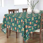Tablecloth Gingerbread House Holiday Gumdrop Christmas Tree Cotton Sateen